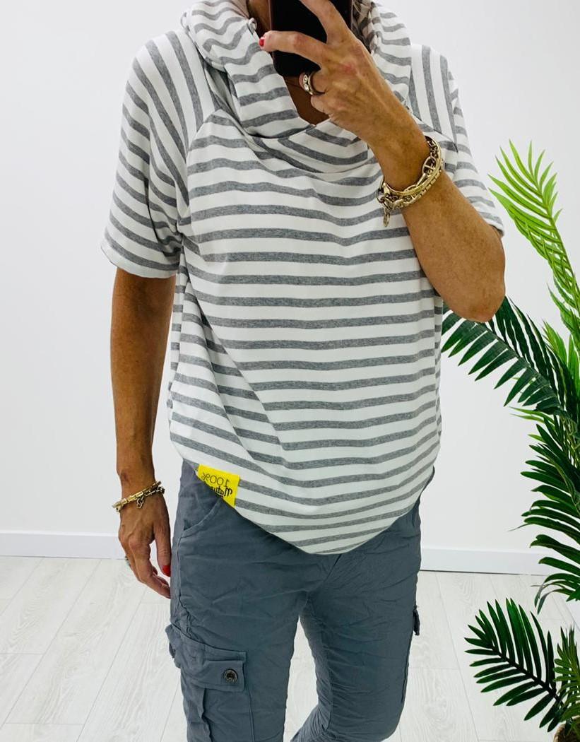 Grey/White Striped Cowl Neck T-Shirt