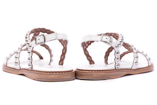 Alpe White Sandal Silver Studs