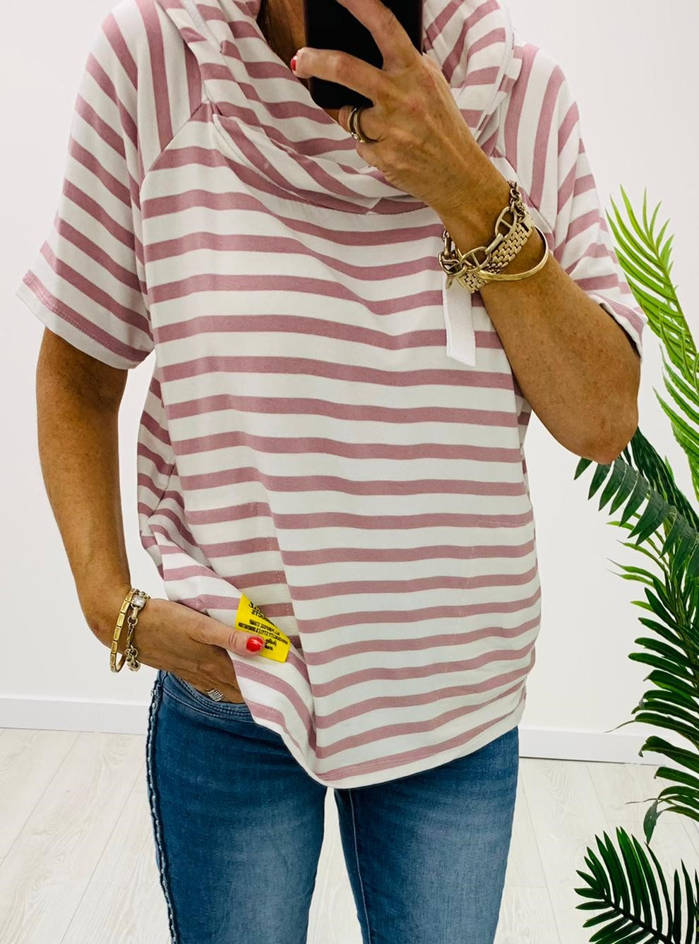 Red/White Striped Cowl Neck T-Shirt