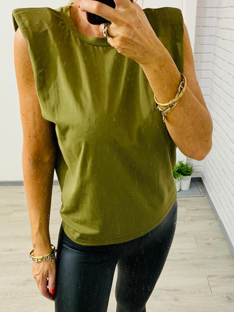 Green Sleeveless T-Shirt