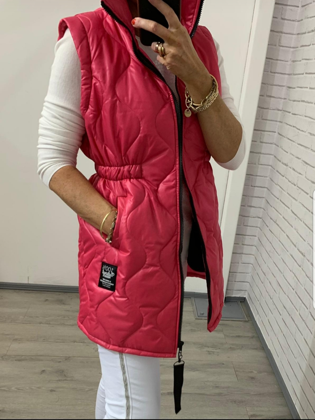 Pink Cinched Waist Gilet