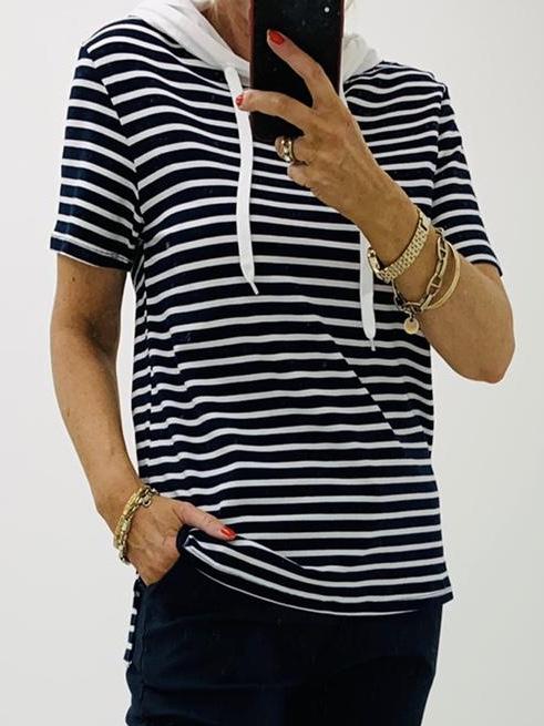 Navy/White Striped Top