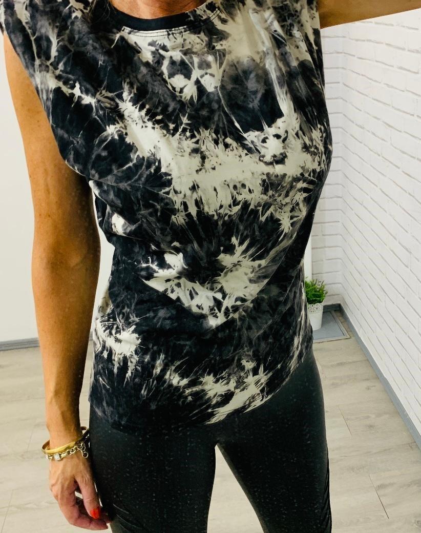 Black Tie-Dye Sleeveless T-Shirt