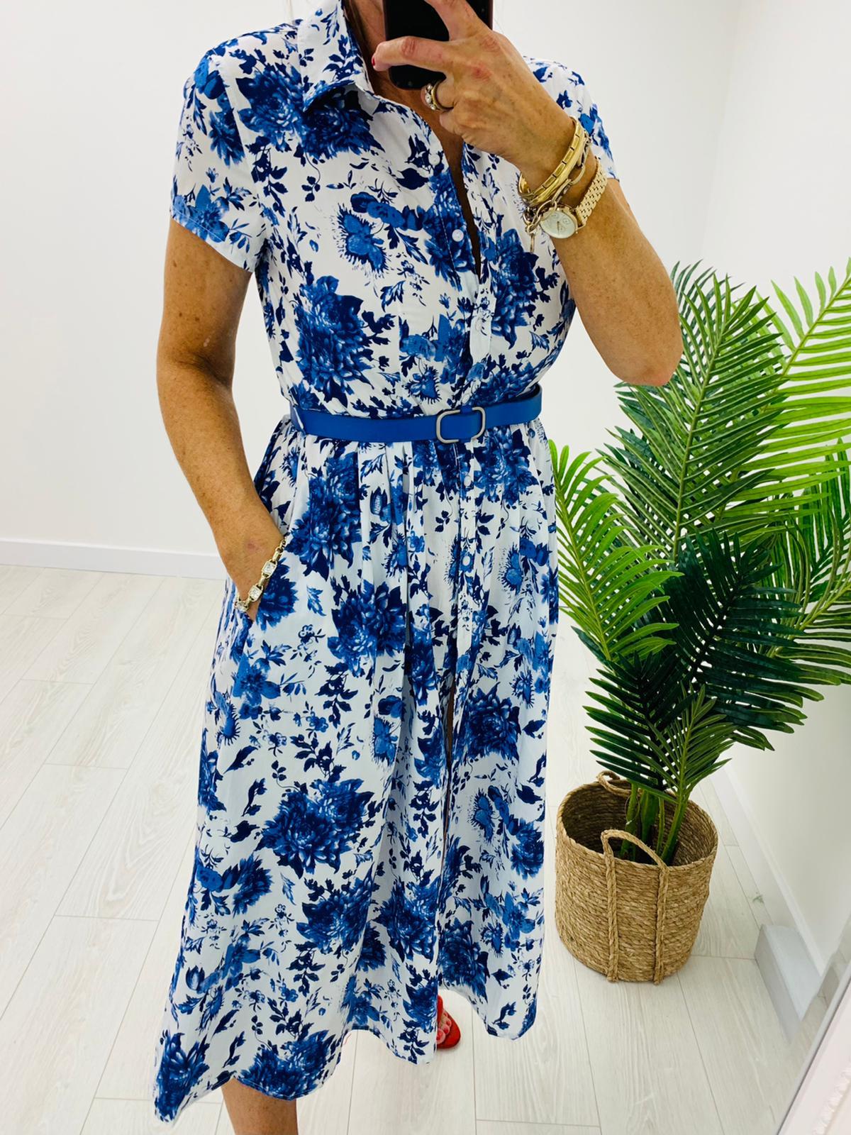 White/Blue Floral Dress
