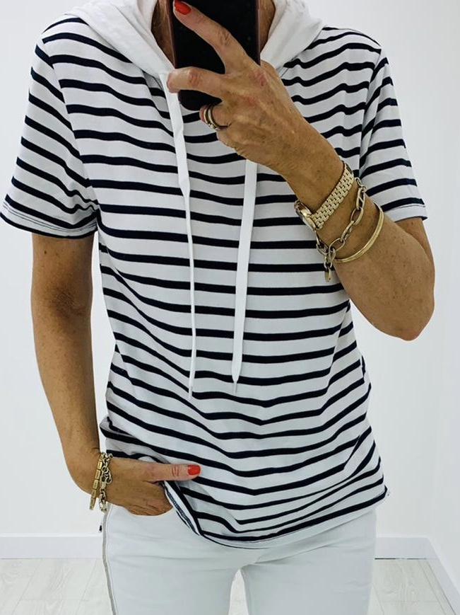 Black/White Striped Top
