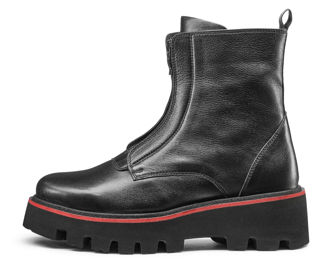Ara soft black boot with red stripe