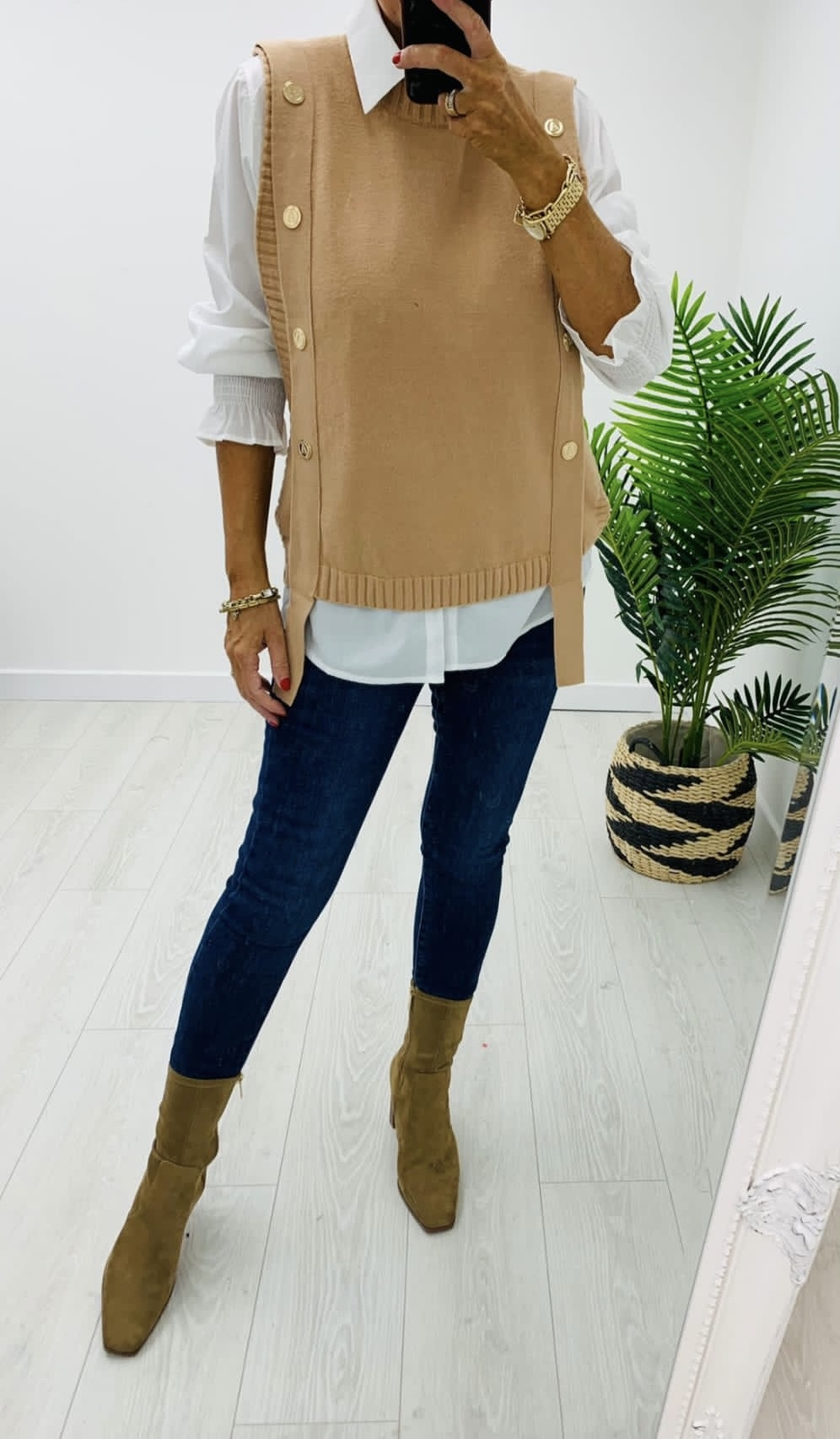Camel sweater vest and shirt set