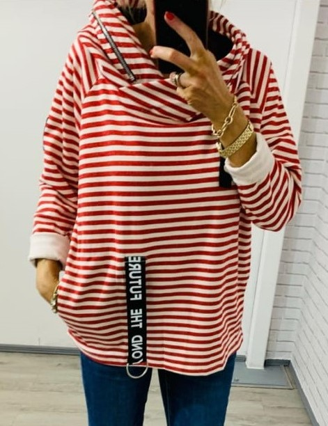Red Striped Cowl Neck Top