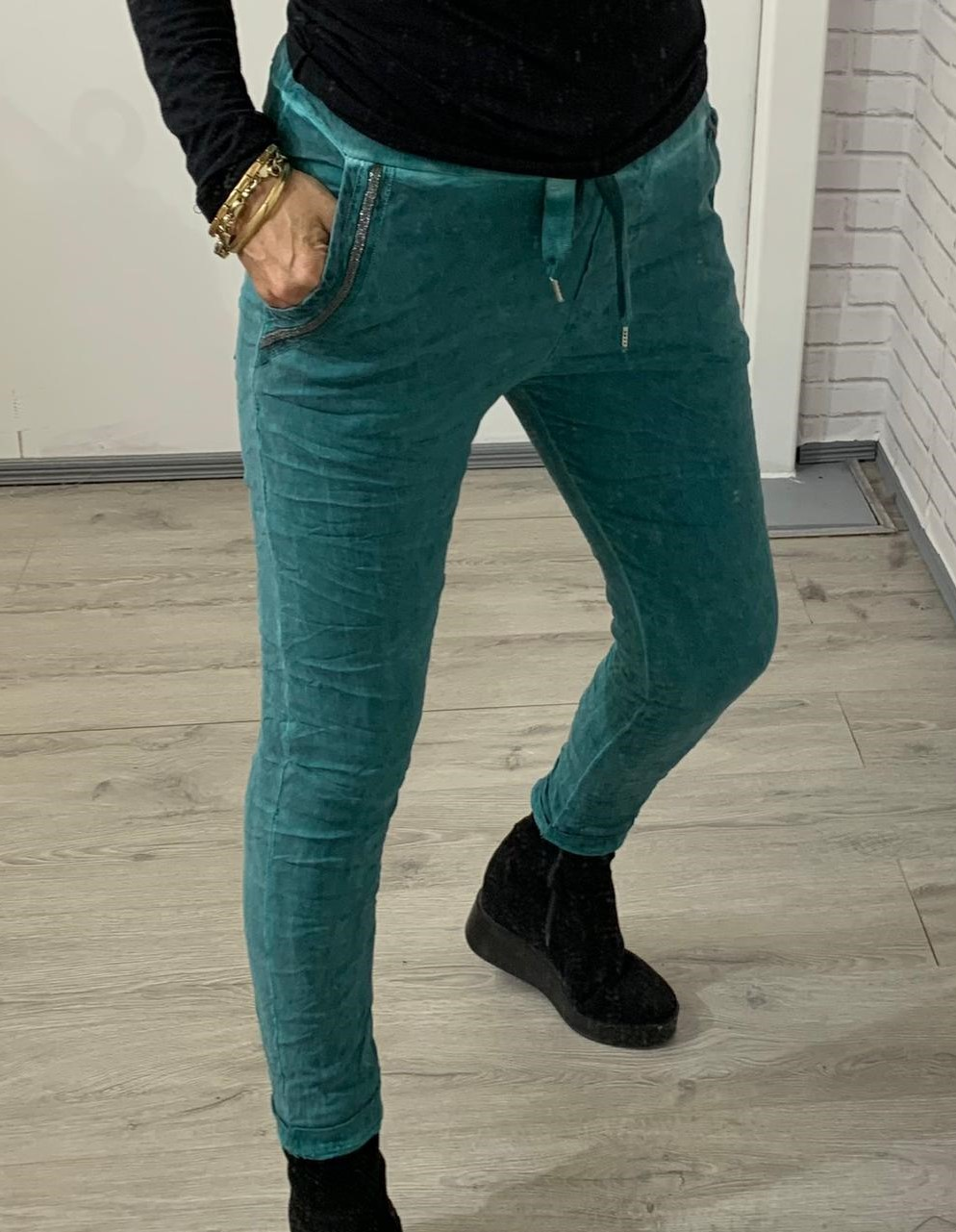Teal Velour Joggers